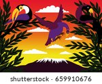 african landscape with birds ... | Shutterstock .eps vector #659910676