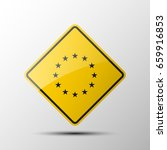 yellow diamond road sign with a ... | Shutterstock . vector #659916853