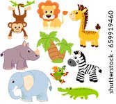jungle animals. lion  elephant  ... | Shutterstock .eps vector #659919460