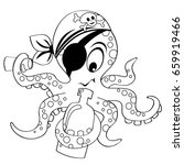 cartoon pirate octopus with... | Shutterstock .eps vector #659919466