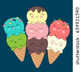 cute and funny ice cream... | Shutterstock .eps vector #659921590