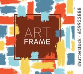 art frame square. blue yellow... | Shutterstock .eps vector #659923888