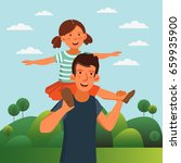 dad and his daughter  having... | Shutterstock .eps vector #659935900