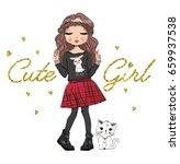 Stock vector cute girl fashion girl romantic girl 659937538