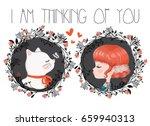 cute girl and cat vector design. | Shutterstock .eps vector #659940313