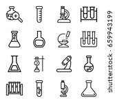 set of 16 lab outline icons... | Shutterstock .eps vector #659943199