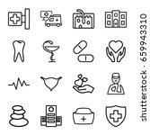 medicine icons set. set of 16... | Shutterstock .eps vector #659943310