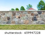Stone Wall Texture With Grass...