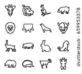 mammal icons set. set of 16... | Shutterstock .eps vector #659953378