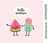 summer greeting card. cute... | Shutterstock .eps vector #659963098