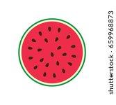 vector half of a watermelon....   Shutterstock .eps vector #659968873