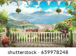 digital fresco. lovely balcony... | Shutterstock . vector #659978248