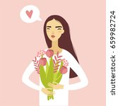 the girl in love is holding a... | Shutterstock .eps vector #659982724