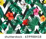 Vector Tropical Palm Leaves...