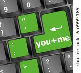 you plus me message on keyboard ... | Shutterstock . vector #659992189