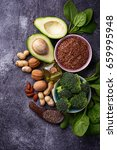 vegan fat sources      flax ... | Shutterstock . vector #659995948