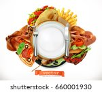 fast food logo. sandwich  steak ... | Shutterstock .eps vector #660001930