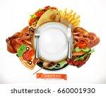 fast food logo. sandwich  steak ... | Shutterstock .eps vector #660001930