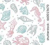 seamless pattern sea animal.... | Shutterstock .eps vector #660015670