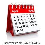 April 2018 Calendar. Isolated...
