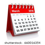 march 2018 calendar. isolated... | Shutterstock . vector #660016354