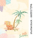 Hand drawn holiday travel card. Summer vector illustration of umbrella, sunbed, palm, shell, travel bag, sunglasses, hat can be used as invitation, postcard, menu, flyer banner or website decoration.