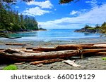 Small photo of Blue water and skies along the coast of Pacific Rim National Park, Vancouver Island, BC, Canada