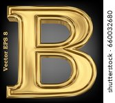 vector letter b from gold solid ... | Shutterstock .eps vector #660032680