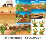 desert scenes with cactus and... | Shutterstock .eps vector #660039214