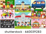 school scenes with students and ... | Shutterstock .eps vector #660039283