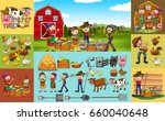 farmers and animals on the farm ... | Shutterstock .eps vector #660040648