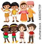 happy children from different... | Shutterstock .eps vector #660040759