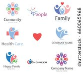 abstract people logo set | Shutterstock .eps vector #660065968