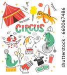 vintage circus doodle with... | Shutterstock .eps vector #660067486