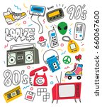 vintage 80's 90's doodle with... | Shutterstock .eps vector #660067600