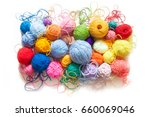 colored balls of yarn. view...   Shutterstock . vector #660069046