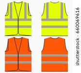 safety vest. set of yellow and... | Shutterstock .eps vector #660069616