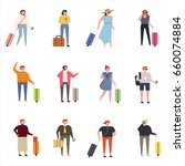 luggage and tourist vector... | Shutterstock .eps vector #660074884