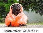Stock photo funny pug dog wearing orange raincoat in raining day 660076444