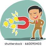 indian businessman using magnet ... | Shutterstock . vector #660090403