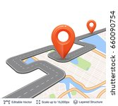 road with location pins. map... | Shutterstock .eps vector #660090754