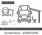 rv camping vector line icon... | Shutterstock .eps vector #660092548