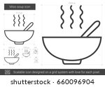 miso soup vector line icon... | Shutterstock .eps vector #660096904