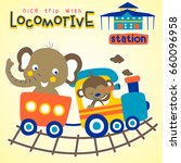 vacation with train  vector... | Shutterstock .eps vector #660096958