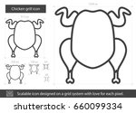 chicken grill vector line icon... | Shutterstock .eps vector #660099334
