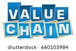 value chain blue squares... | Shutterstock . vector #660103984