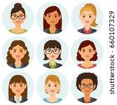 business women flat avatars set ... | Shutterstock .eps vector #660107329
