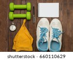 fitness equipment and healthy... | Shutterstock . vector #660110629