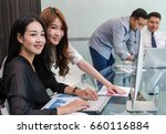 group of asian business people... | Shutterstock . vector #660116884