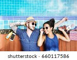 aerial view of cheerful couple... | Shutterstock . vector #660117586